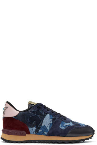 Valentino - Blue Denim Patchwork Rockrunner Sneakers