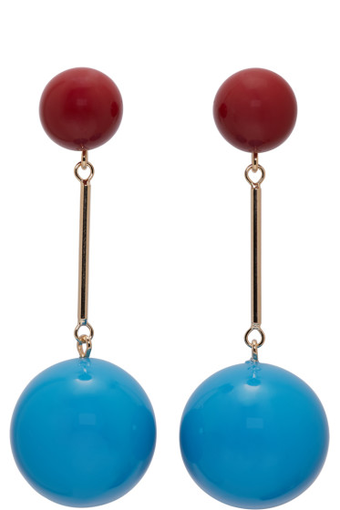J.W.Anderson - Blue & Burgundy Sphere Earrings