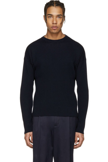 AMI Alexandre Mattiussi - Navy Ribbed Sweater