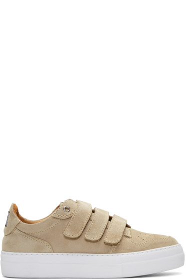 AMI Alexandre Mattiussi - Beige Suede Velcro Sneakers