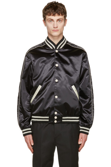 Calvin Klein Collection - Black Satin Rankin Bomber Jacket