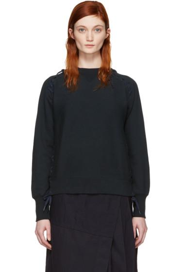 Facetasm - Navy Lace-Up Sweatshirt