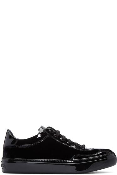Jimmy Choo - Black Velvet & Leather Ace Sneakers