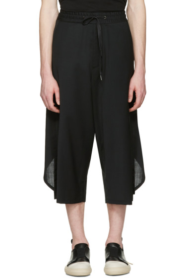 D.Gnak by Kang.D - Black Overlapped Back Trousers