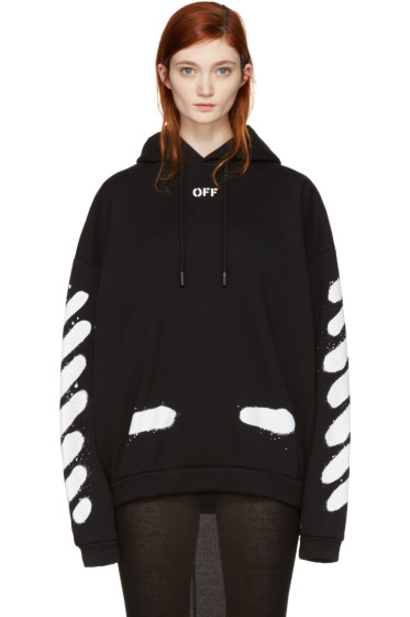 Off-White - SSENSE Exclusive Black Diagonal Spray Hoodie