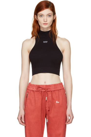 Off-White - Black Intarsia 'Off' Cropped Tank Top