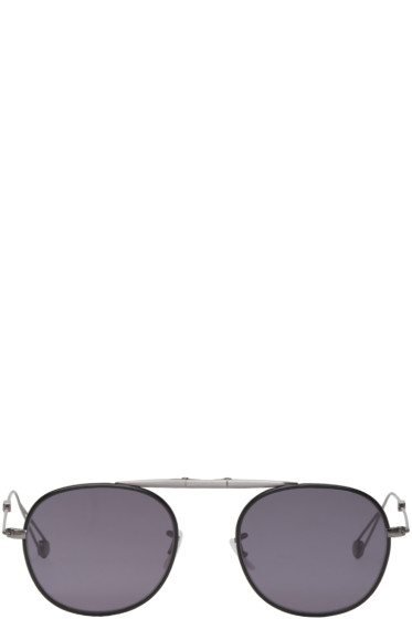 Garrett Leight - Grey & Black Folding Van Buren Sunglasses