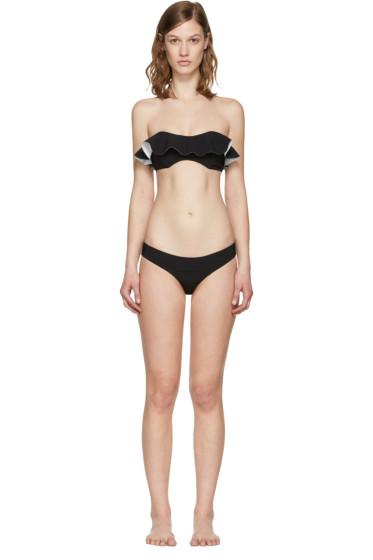 Lisa Marie Fernandez - Black Natalie Flounce Bikini