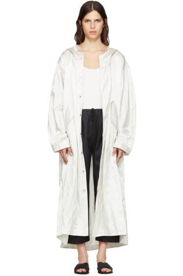 Nomia - Ivory Extra Long Satin Coat