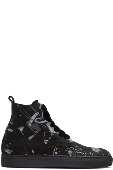AD Ann Demeulemeester - Black Suede Splatter High-Top Sneakers