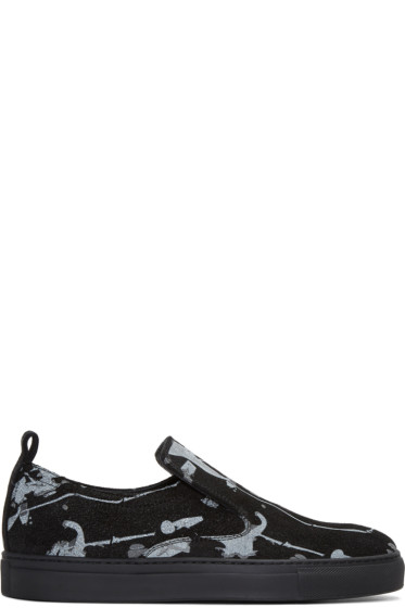 AD Ann Demeulemeester - Black Suede Splatter Slip-On Sneakers