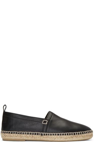 Loewe - Black Leather Espadrilles
