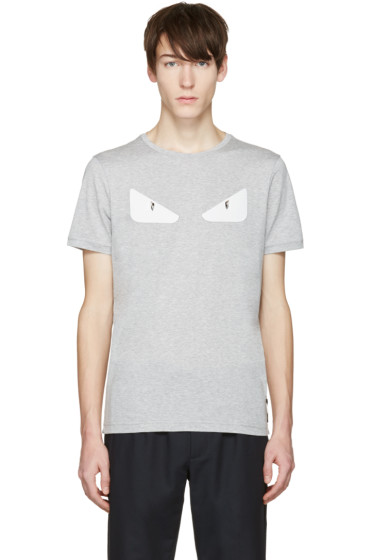 Fendi - Grey 'Bag Bug' Basic T-Shirt