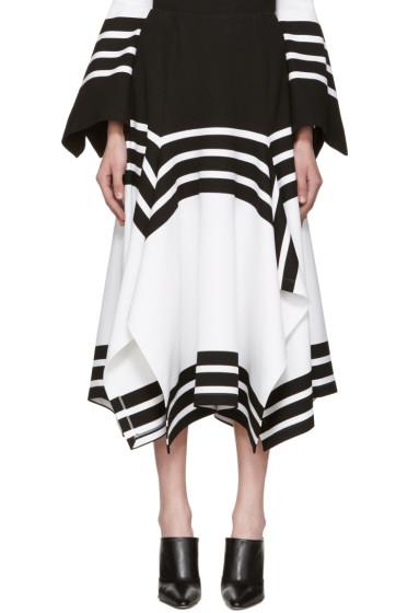 Rosetta Getty - Black & White Scarf Hem Skirt