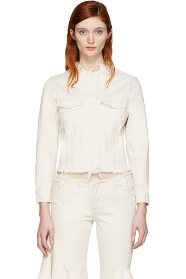Marques Almeida - Off-White Denim Collarless Jacket