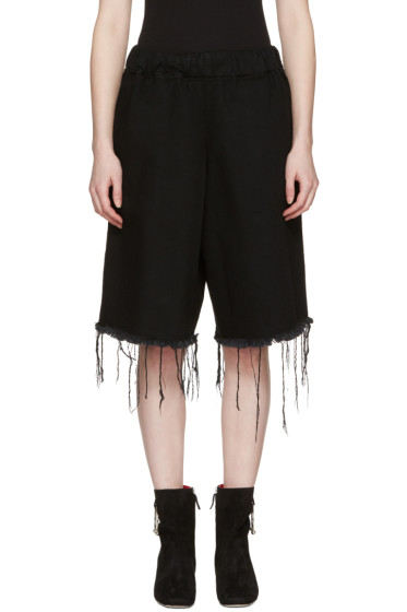 Marques Almeida - Black Denim Track Shorts