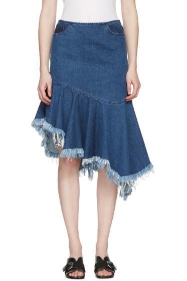 Marques Almeida - Blue Denim Draped Skirt