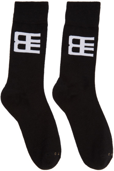 Baja East - Three-Pack Black Logo Socks