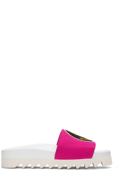 Joshua Sanders - Pink Rainbow Smile Slide Sandals