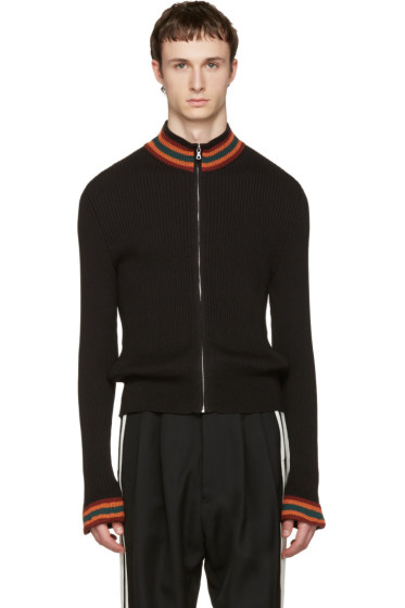 Wales Bonner - Black Palms Zip-Up Sweater