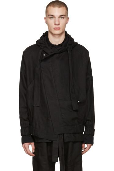 Phoebe English - Black Linen Bomber Jacket