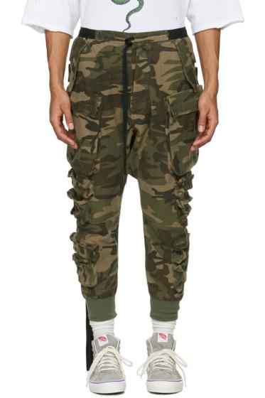 Unravel - Green Camo Parachute Cargo Pants
