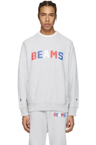 Champion x Beams - Grey Logo Pullover