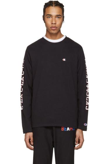 Champion x Beams - Black Printed Sleeve Logo Pullover