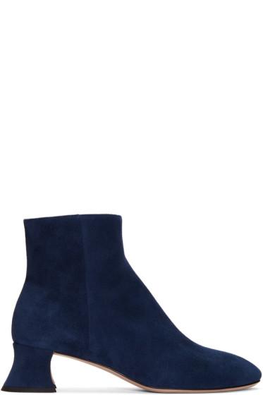Miu Miu - Blue Suede Ankle Boots