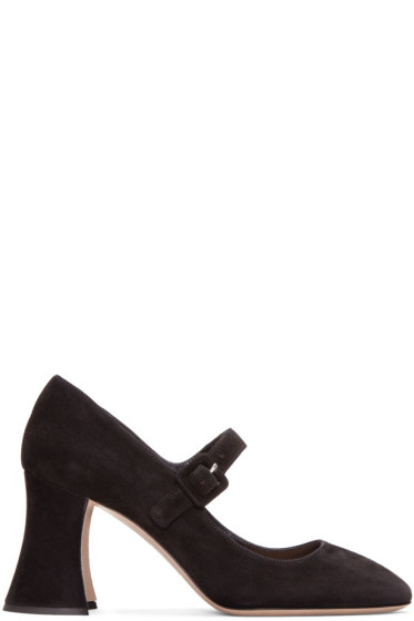 Miu Miu - Black Suede Mary Jane Heels