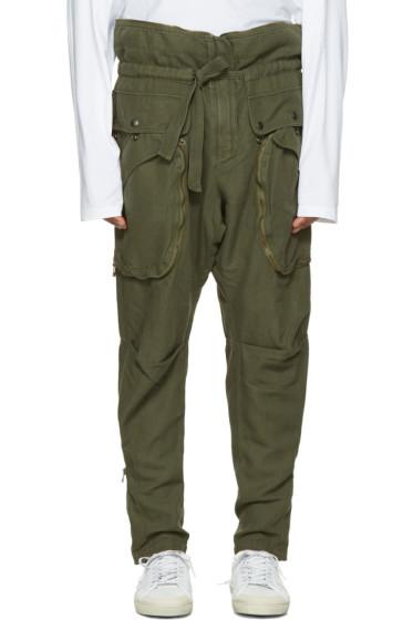 Faith Connexion - Green Zip Cargo Trousers