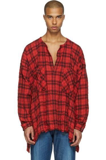 Faith Connexion - Red Oversized Plaid Shirt