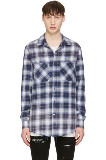 Amiri - Blue Plaid Grunge Shirt