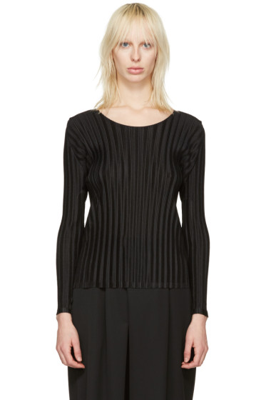 Pleats Please Issey Miyake - Black Pleated Crew Blouse