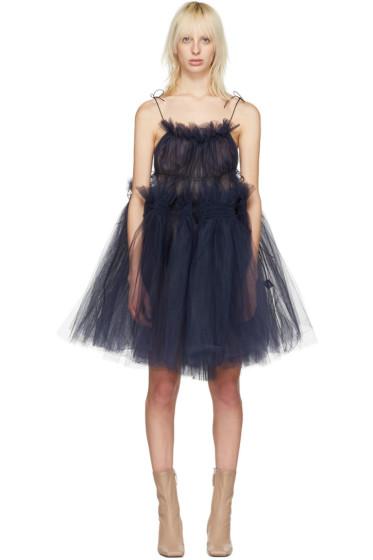 Molly Goddard - Navy Tulle Oksana Strappy Dress