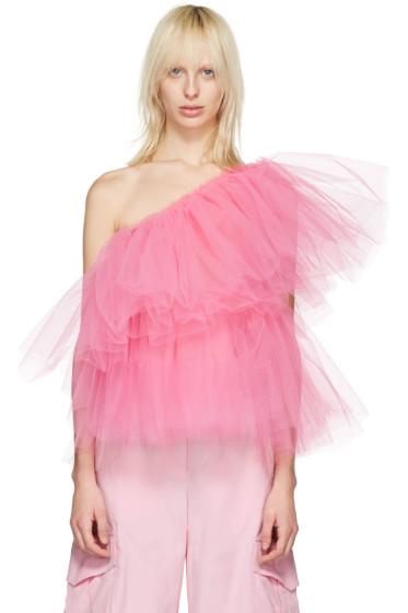 Molly Goddard - Pink Tulle One-Shoulder Angela Top