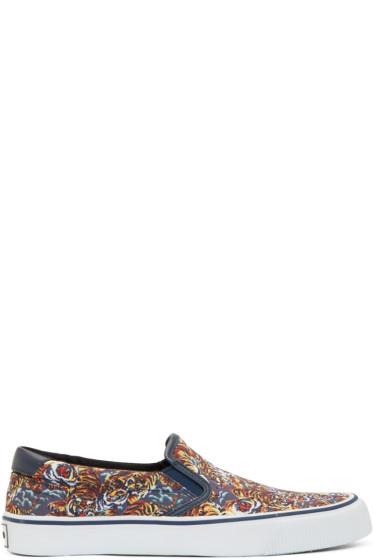 Kenzo - Blue & Orange Flying Tiger Slip-On Sneakers