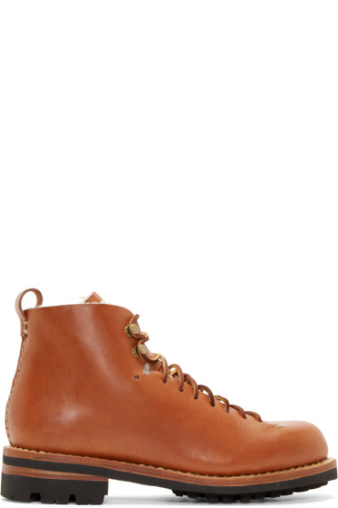 Feit - Brown Leather & Wool Hiker Boots
