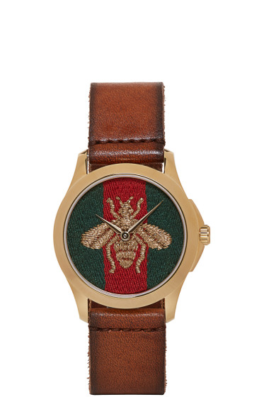 Gucci - Brown Medium G-Timeless Bee Watch