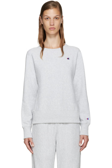 Champion Reverse Weave - Grey Small Logo Pullover