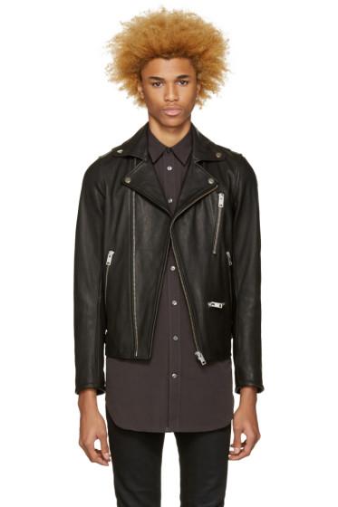 Diesel - Black Leather L-Gibson-1 Biker Jacket