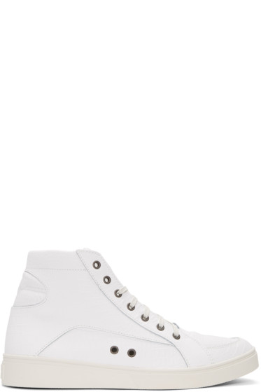 Diesel - White Croc-Embossed S-Groove High-Top Sneakers