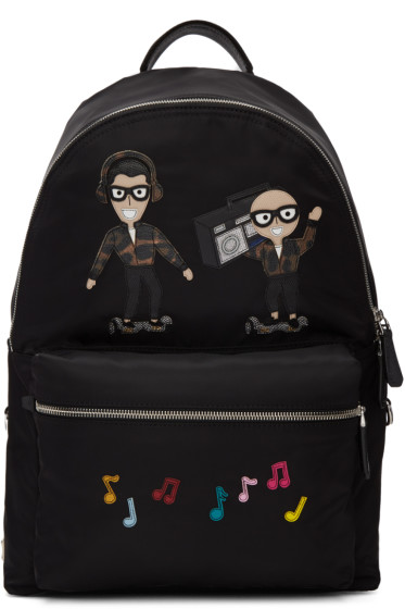 Dolce & Gabbana - Black Nylon Designers & Music Backpack