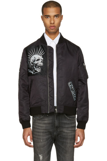 R13 - Black Patched MA-1 Flight Jacket