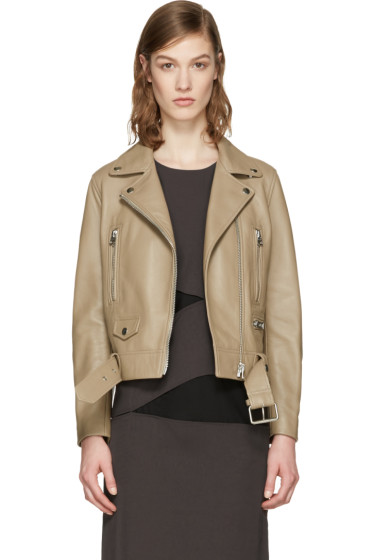 Acne Studios - Beige Leather Mock Jacket