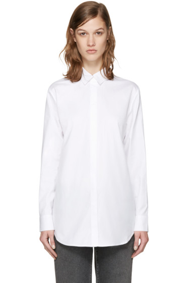 T by Alexander Wang - White Poplin Cut-Out Shirt