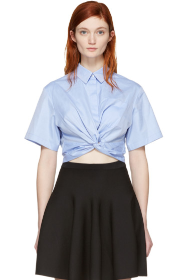 T by Alexander Wang - Blue Twist Short Sleeve Cropped Shirt
