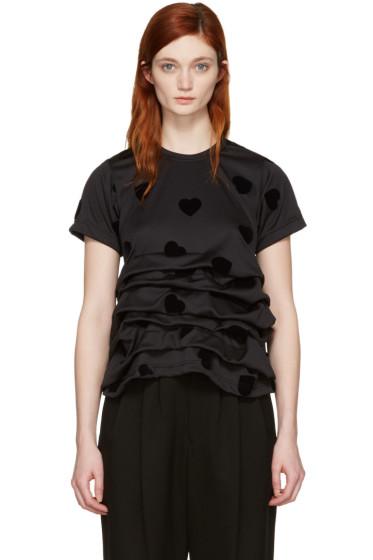 Comme des Garçons - Black Velveteen Hearts T-Shirt