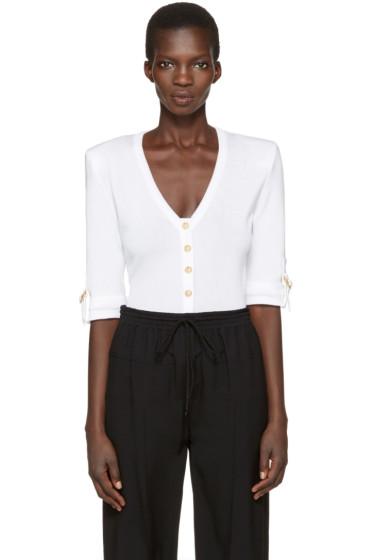 Balmain - White V-Neck Pullover