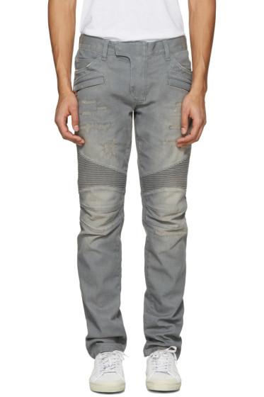 Balmain - Grey Biker Rib Jeans